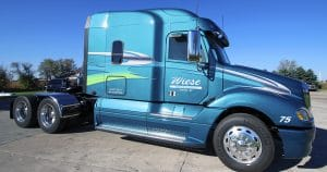 Freightliner Columbia truck lettering & graphics for Wiese Trucking Lomira, Wisconsin