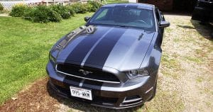 Ford Mustang GT rally stripes from Wilton, Wisconsin