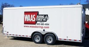 Cargo trailer reflective trailer lettering & graphics for Waas Boring Lomira, Wisconsin
