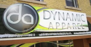 Building sign for Dynamic Apparel Waupun, Wisconsin