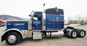 Peterebilt 389 truck lettering & graphics for Martin Milk Service Wilton, Wisconsin