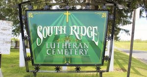 Ground mount cemetery sign for South Ridge Lutheran Kendall, Wisconsin