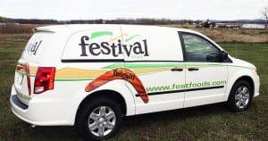 Dodge RAM mini van lettering & graphics for Festival Foods Green Bay, Wisconsin