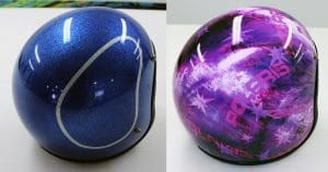 Helmet wrap before & after from Wilton, Wisconsin
