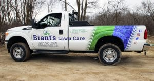 Ford F350 truck lettering & graphics for Brant's Lawn Care West Bend, Wisconsin