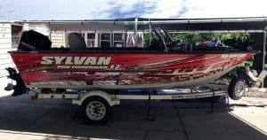 Sylvan fishing boat wrap from West Bend, Wisconsin