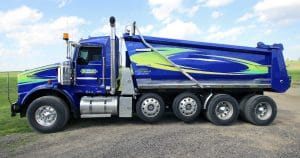 Kenworth dump truck lettering & graphics for Zee Trucking Janesville, Wisconsin