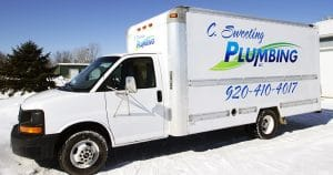 Box truck lettering & graphics for C. Sweeting Plumbing Omro, Wisconsin