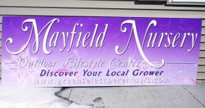 Building sign for Mayfield Nursery West Bend, Wisconsin