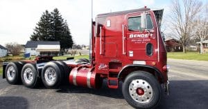 Freightliner cab over truck lettering for Zane Bender Elroy, Wisconsin