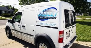 Ford Transit van lettering for Dudley Appliance Repair West Bend, Wisconsin