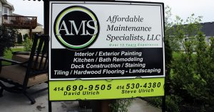 Ground mount stake sign for Affordable Maintenance Service Kewaskum, Wisconsin