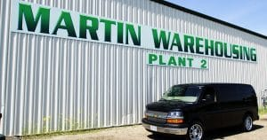 Building mount sign for Martin Warehousing Sparta, Wisconsin