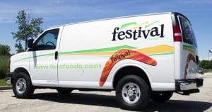 Chevy Express van lettering & graphics for Festival Foods Kenosha, Wisconsin