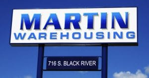 Pole mount sign for Martin Warehousing Sparta, Wisconsin
