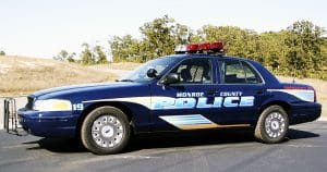 Ford crown victoria police car graphics for Monroe County Police Sparta, Wisconsin