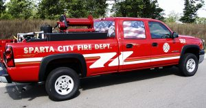 Chevy fire truck lettering & graphics for Sparta Area Fire Department Sparta, Wisconsin