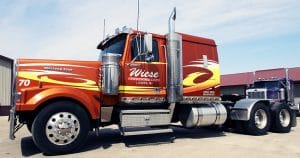 Western Star truck lettering & graphics for Wiese Trucking Lomira, Wisconsin