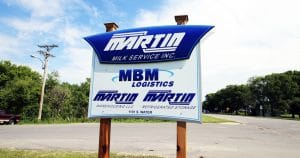 Ground mount sign for Martin Milk Service Wilton, Wisconsin