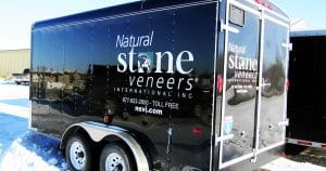 Cargo trailer lettering & graphics for Natural Stone Veneers Fond Du Lac, Wisconsin