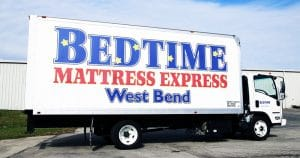 Box truck lettering & graphics for Bedtime Mattress Express West Bend, Wisconsin