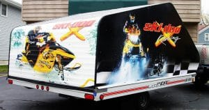 Snowmobile trailer wrap from Lomira, Wisconsin